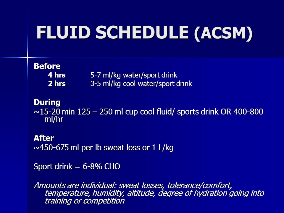 FLUID SCHEDULE (ACSM) Before During