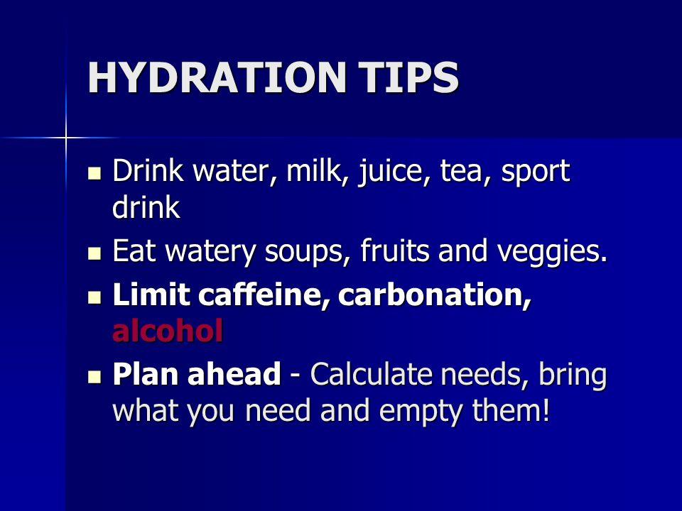 HYDRATION TIPS Drink water, milk, juice, tea, sport drink