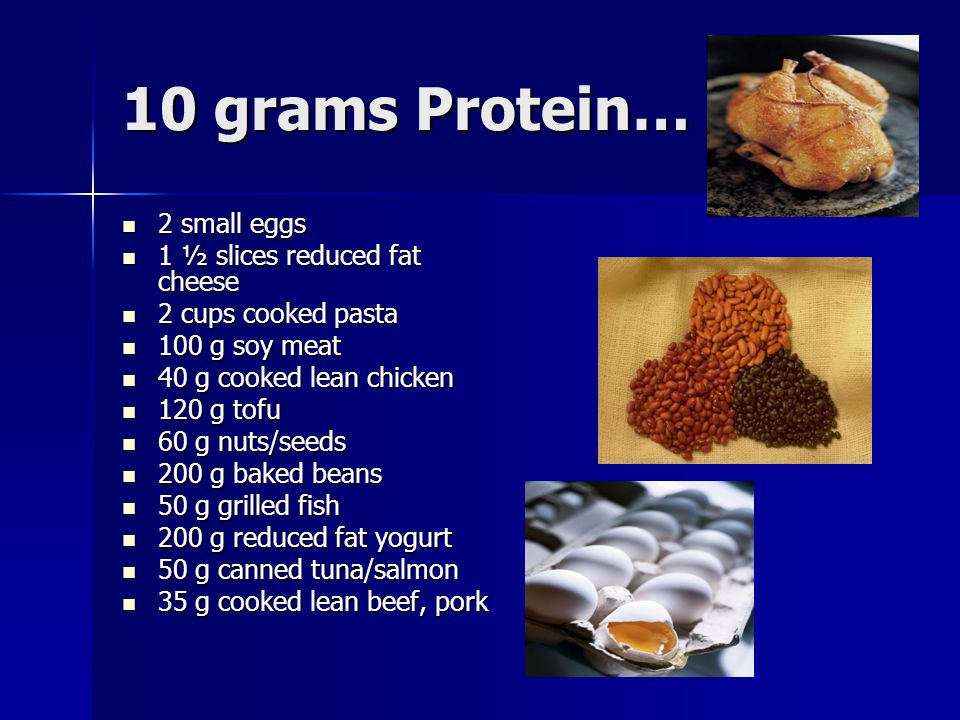 10 grams Protein… 2 small eggs 1 ½ slices reduced fat cheese