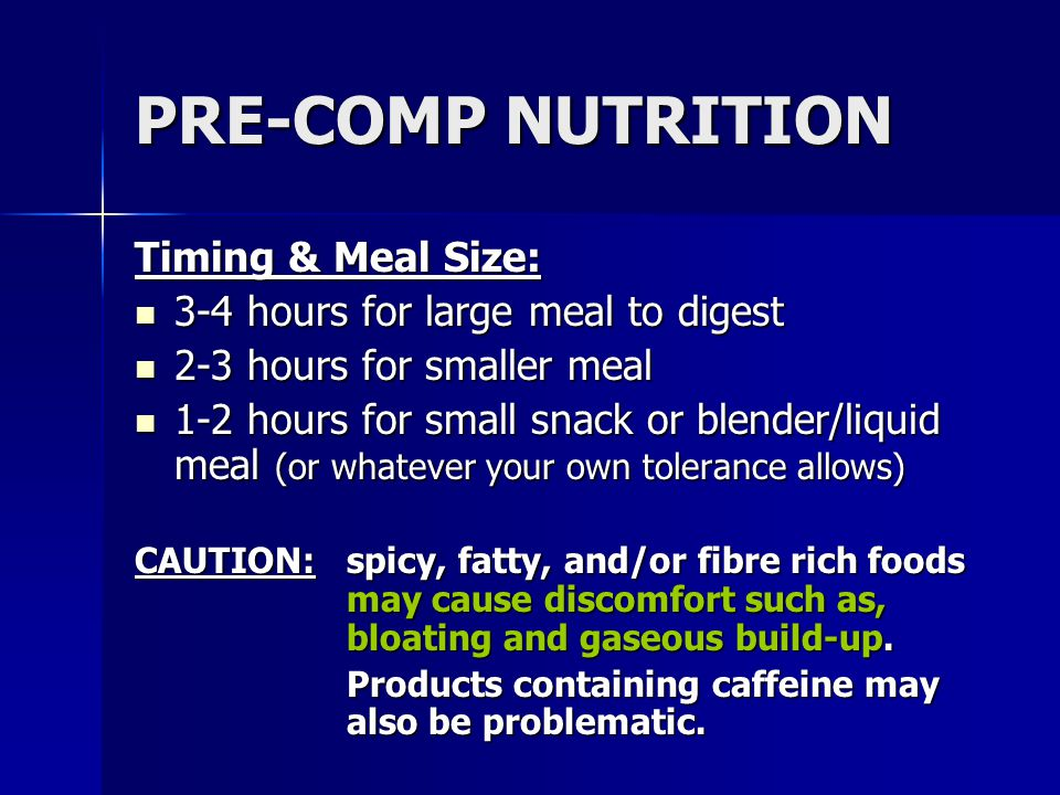 PRE-COMP NUTRITION Timing & Meal Size: