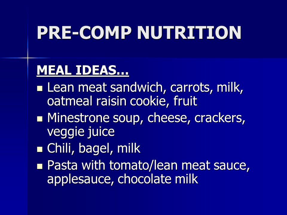 PRE-COMP NUTRITION MEAL IDEAS…