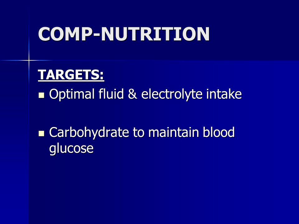 COMP-NUTRITION TARGETS: Optimal fluid & electrolyte intake