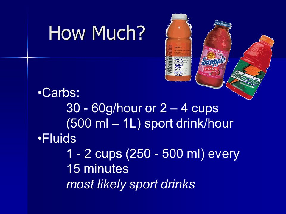 How Much Carbs: 30 - 60g/hour or 2 – 4 cups (500 ml – 1L) sport drink/hour. Fluids. 1 - 2 cups (250 - 500 ml) every 15 minutes.