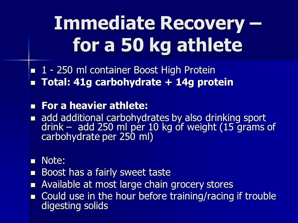 Immediate Recovery – for a 50 kg athlete