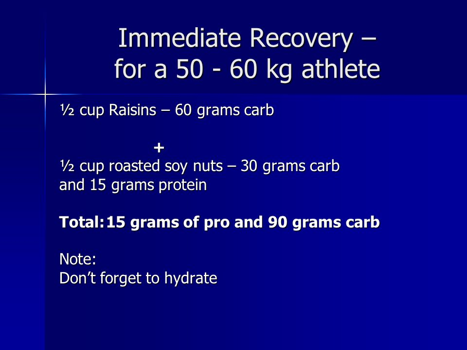 Immediate Recovery – for a 50 - 60 kg athlete