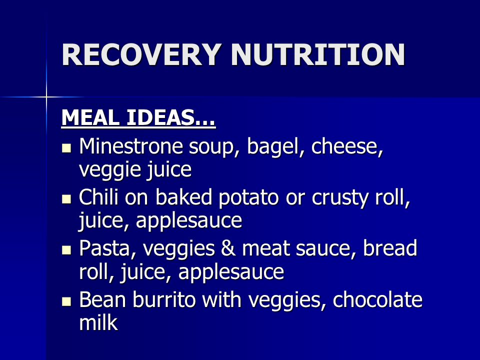 RECOVERY NUTRITION MEAL IDEAS…