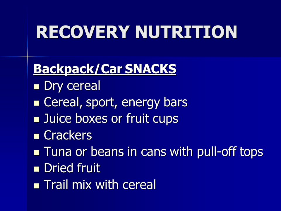 RECOVERY NUTRITION Backpack/Car SNACKS Dry cereal