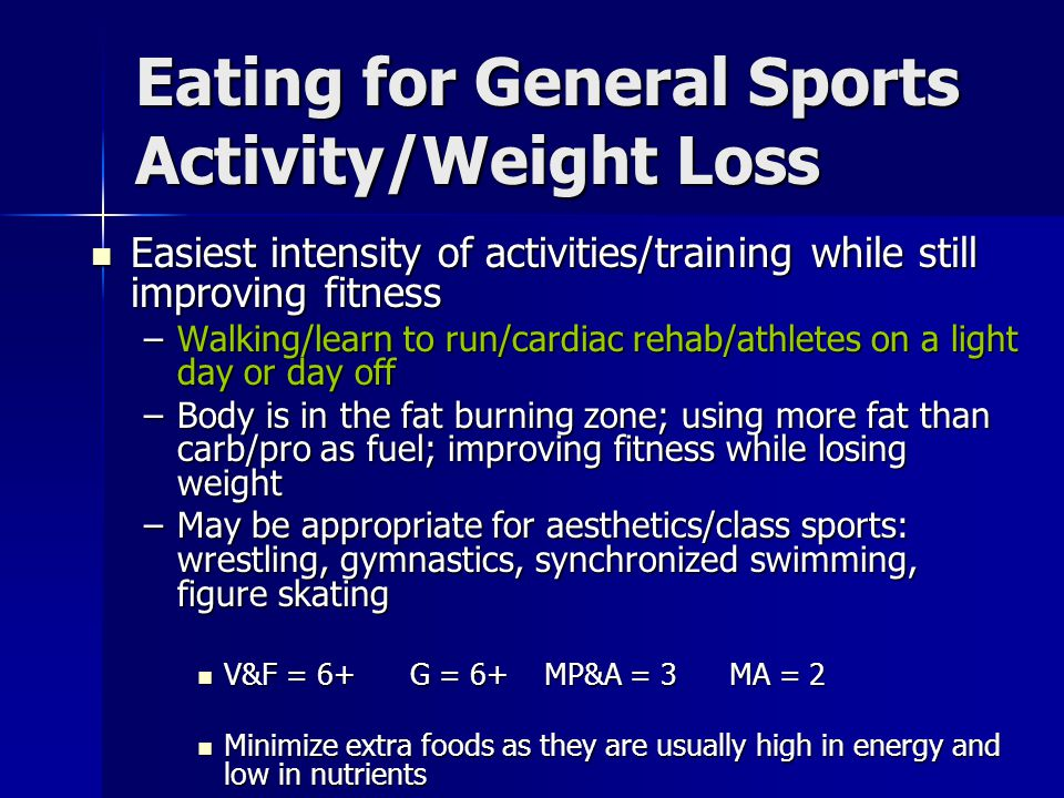 Eating for General Sports Activity/Weight Loss