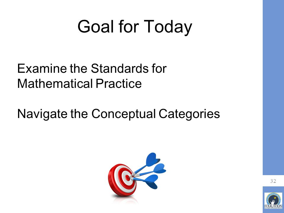 Goal for Today Examine the Standards for Mathematical Practice