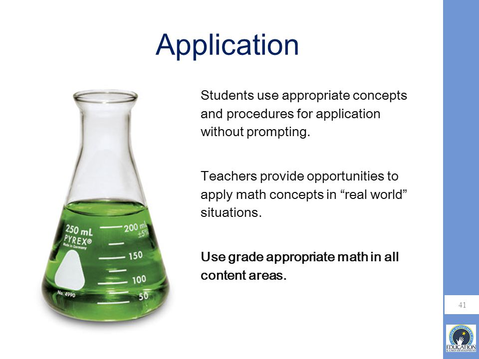 Application Students use appropriate concepts and procedures for application without prompting.