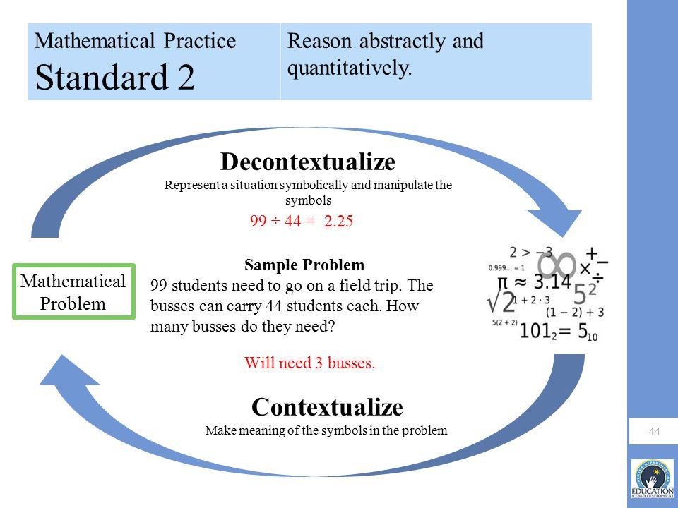 Standard 2 Decontextualize Contextualize Mathematical Practice