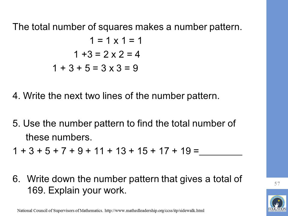 The total number of squares makes a number pattern. 1 = 1 x 1 = 1