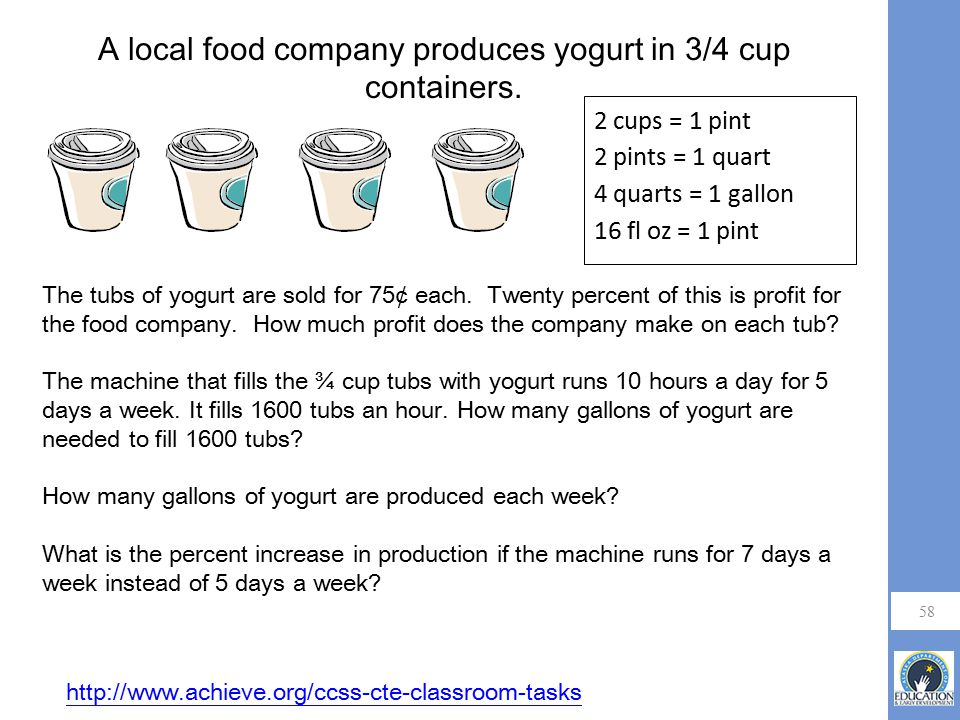 A local food company produces yogurt in 3/4 cup containers.