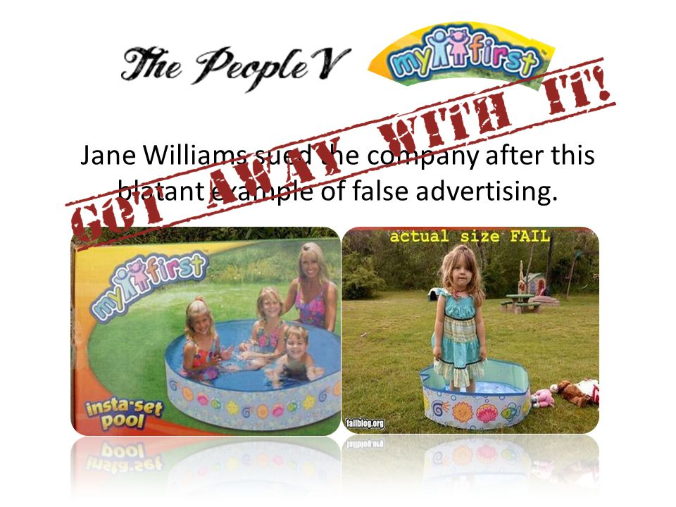 Jane Williams sued the company after this blatant example of false advertising.