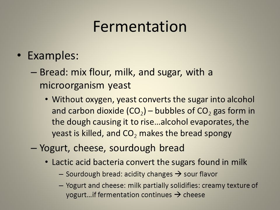 Fermentation Examples: