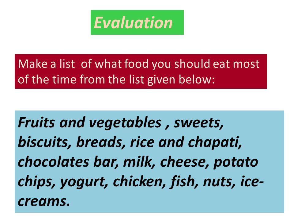 Evaluation Make a list of what food you should eat most of the time from the list given below: