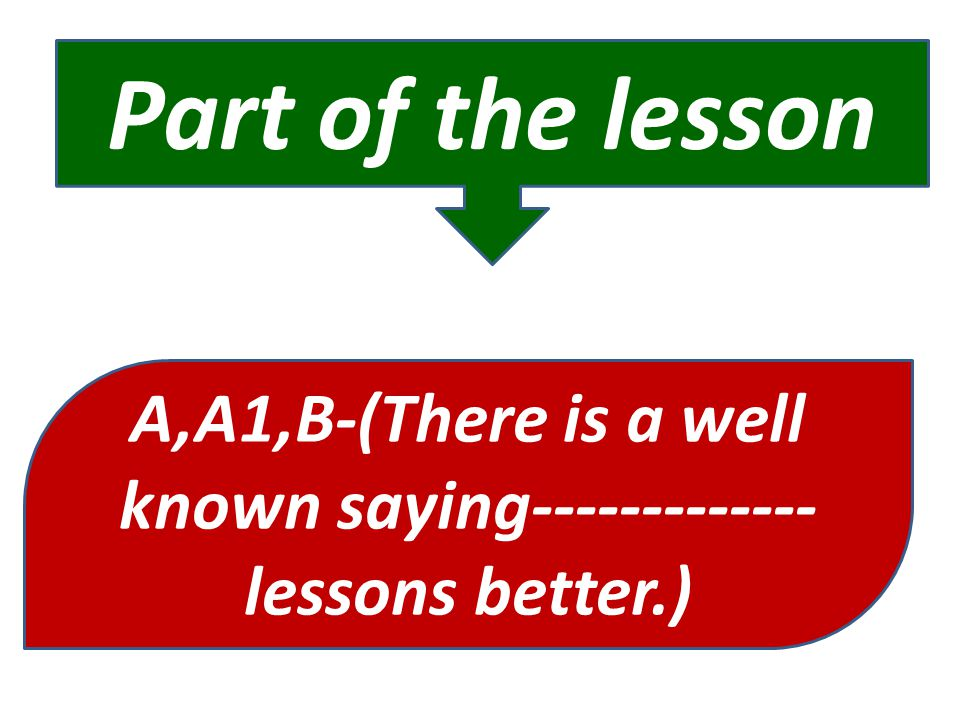 A,A1,B-(There is a well known saying-------------lessons better.)
