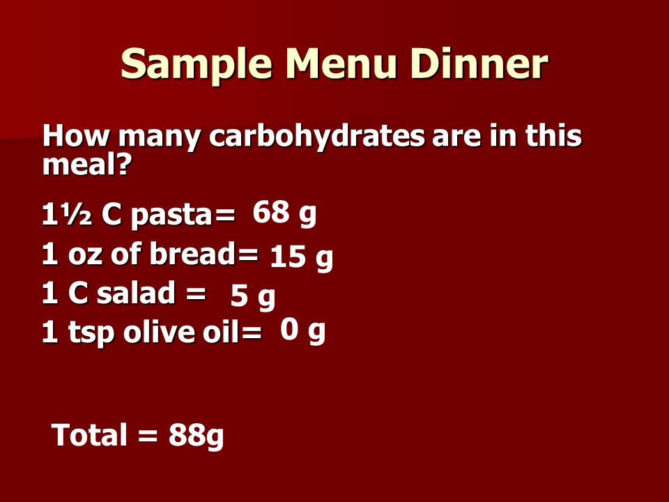 Sample Menu Dinner How many carbohydrates are in this meal 68 g