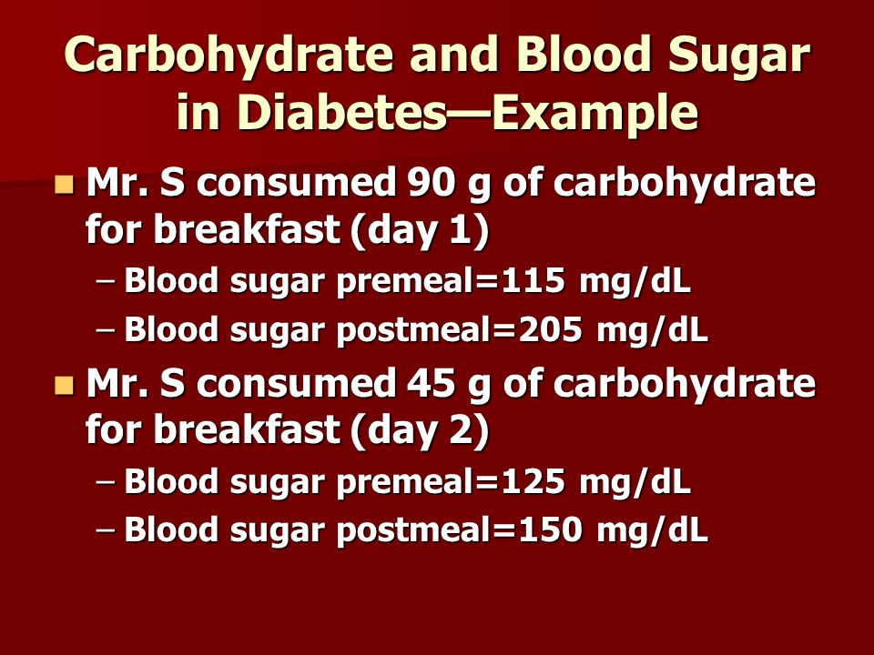 Carbohydrate and Blood Sugar in Diabetes—Example