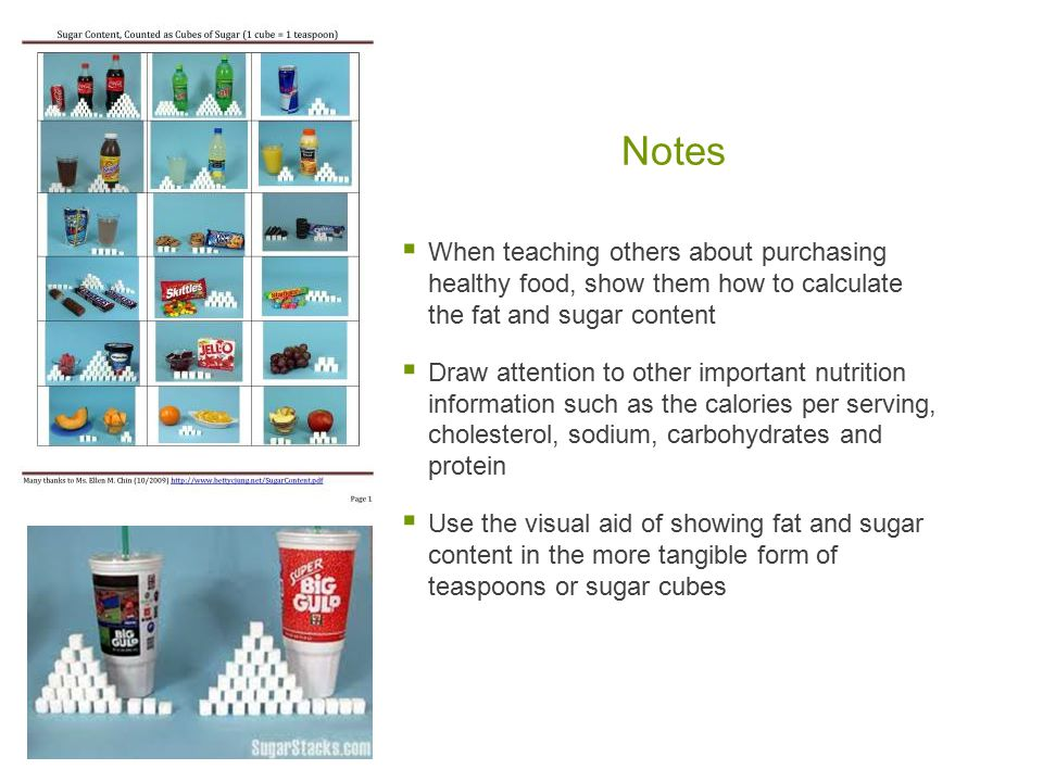Notes When teaching others about purchasing healthy food, show them how to calculate the fat and sugar content.