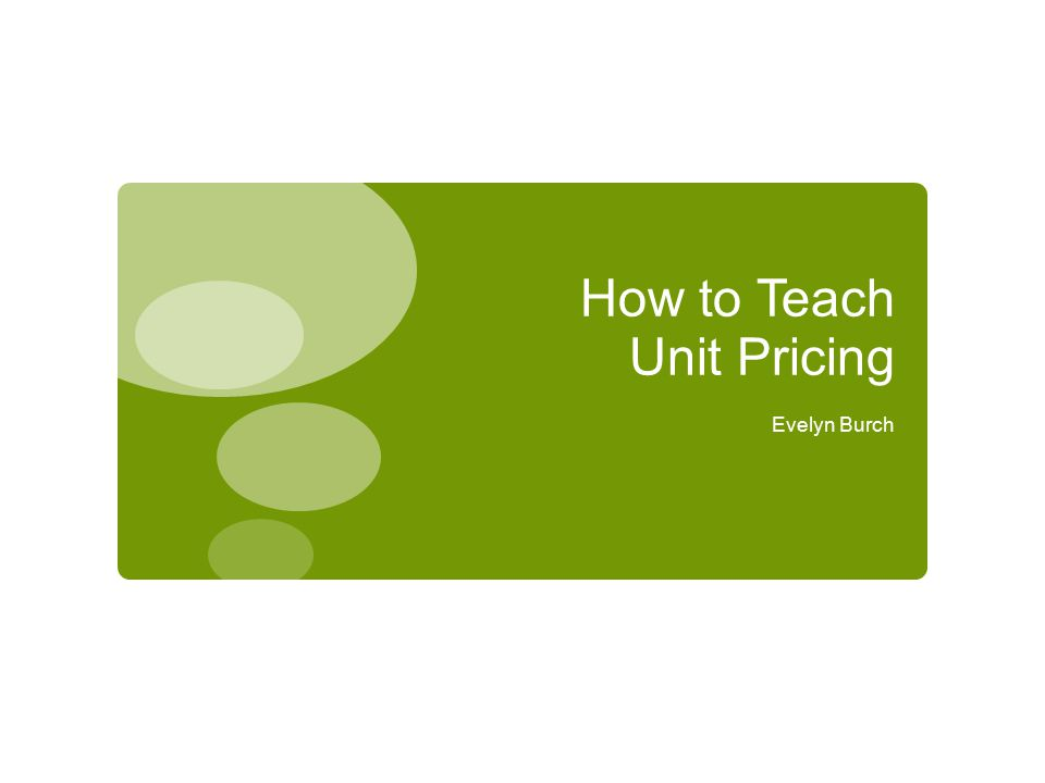 How to Teach Unit Pricing
