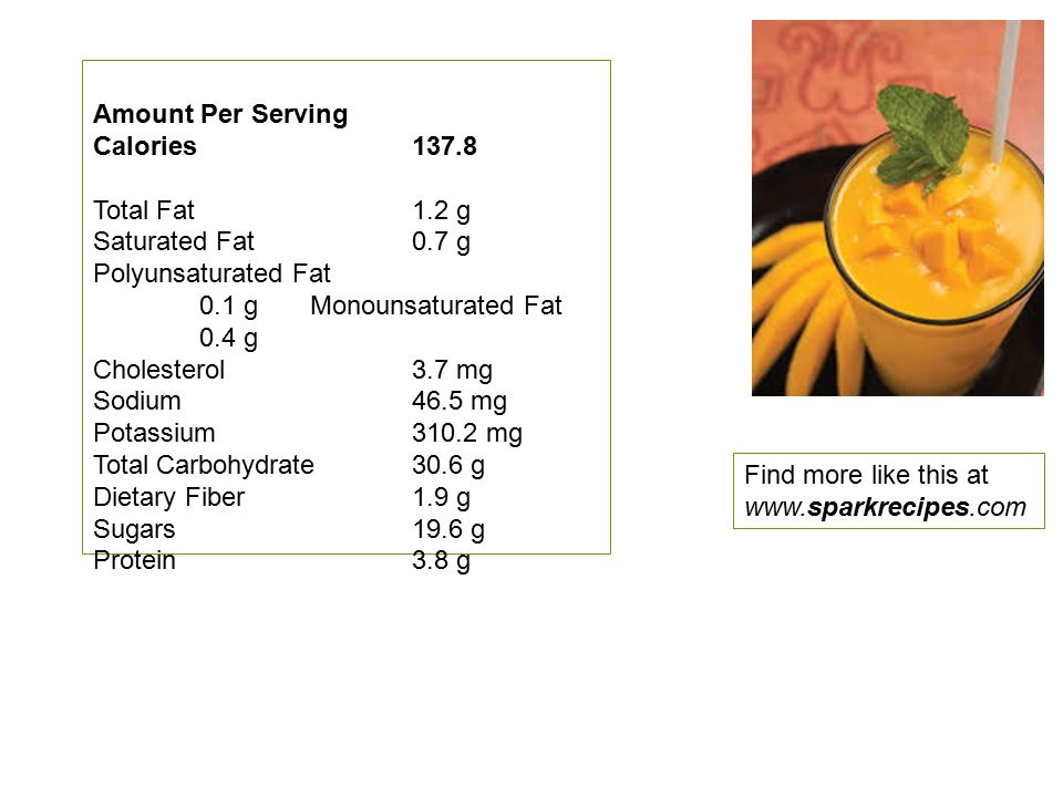 Amount Per Serving Calories 137.8 Total Fat 1.2 g Saturated Fat 0.7 g