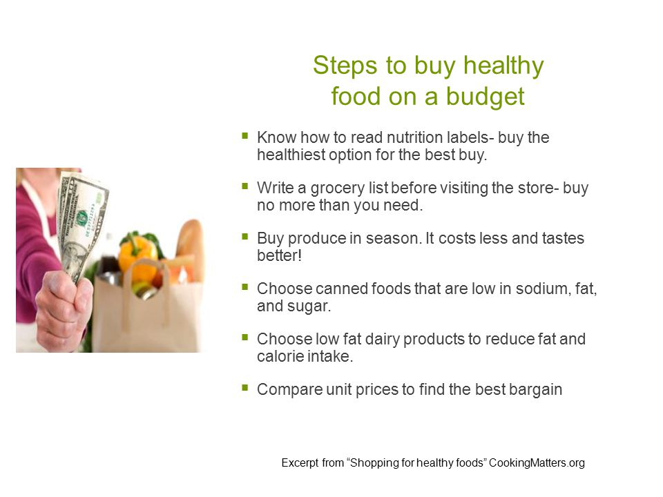 Steps to buy healthy food on a budget