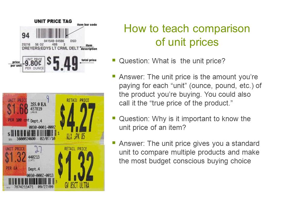 How to teach comparison of unit prices