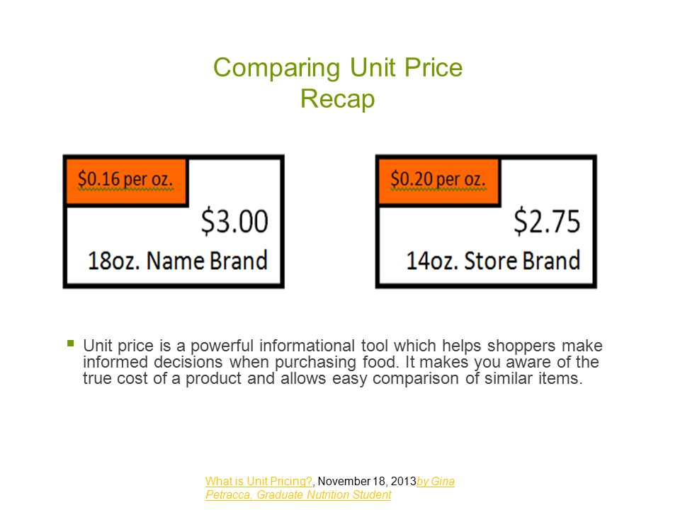 Comparing Unit Price Recap