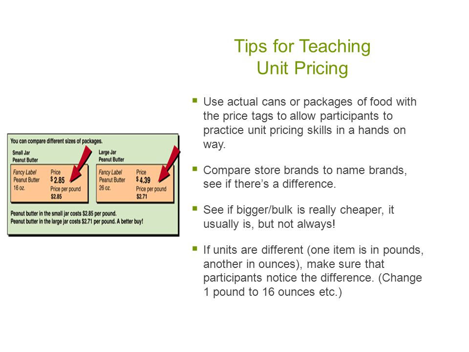 Tips for Teaching Unit Pricing