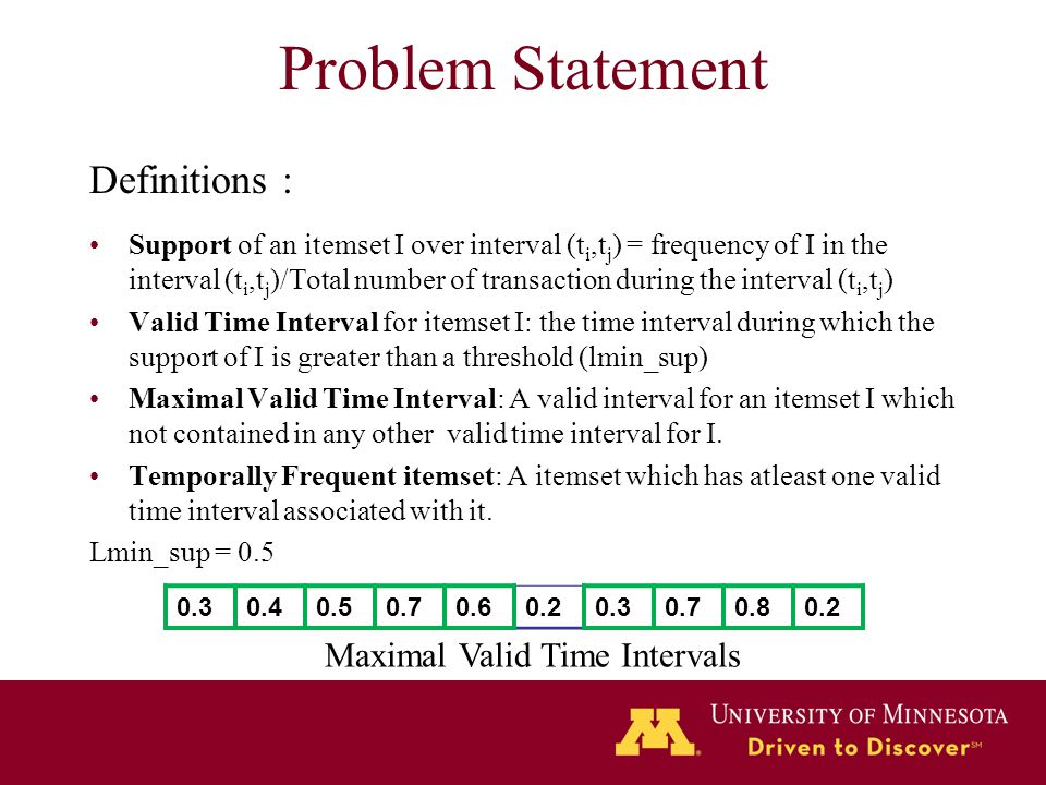 Problem Statement Definitions : Maximal Valid Time Intervals