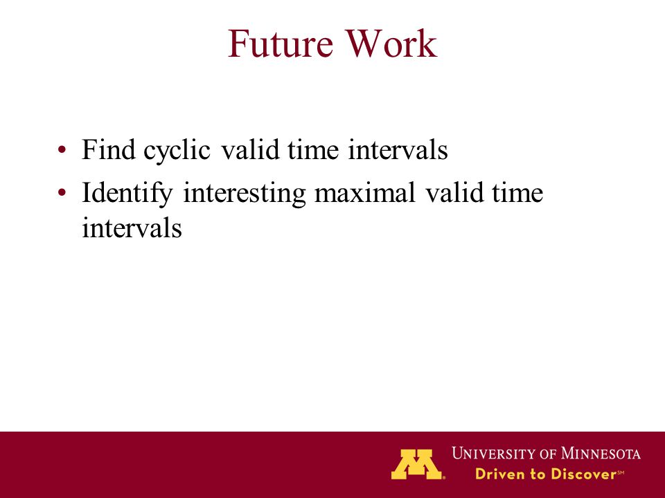 Future Work Find cyclic valid time intervals