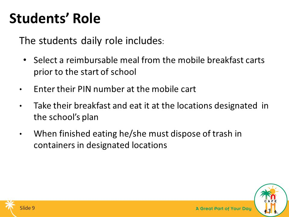 Students' Role The students daily role includes: