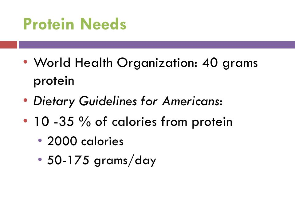 Protein Needs World Health Organization: 40 grams protein