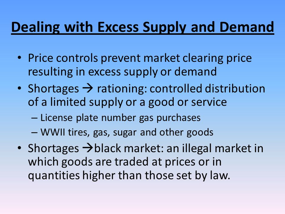 Dealing with Excess Supply and Demand
