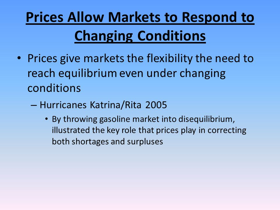 Prices Allow Markets to Respond to Changing Conditions