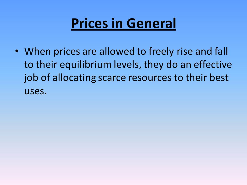 Prices in General