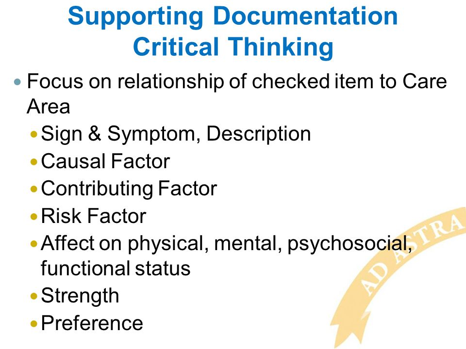 Supporting Documentation Critical Thinking
