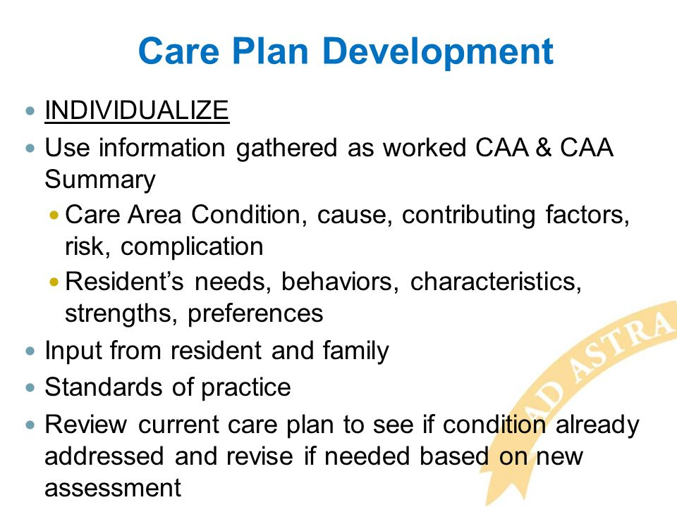 Care Plan Development INDIVIDUALIZE