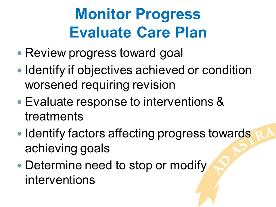 Monitor Progress Evaluate Care Plan