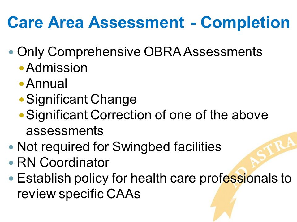 Care Area Assessment - Completion