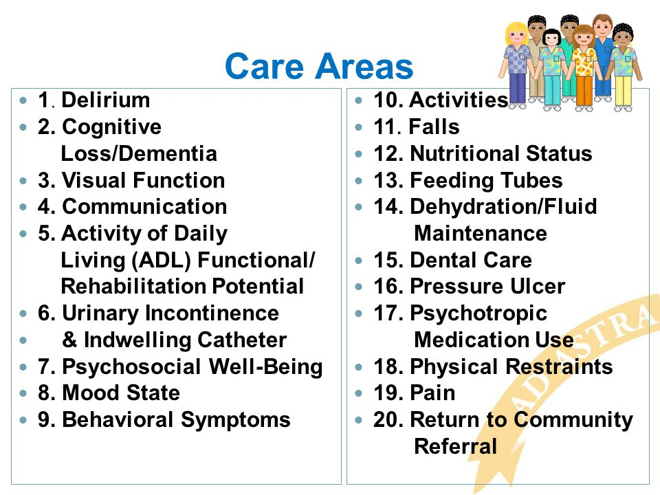 Care Areas 1. Delirium 2. Cognitive Loss/Dementia 3. Visual Function