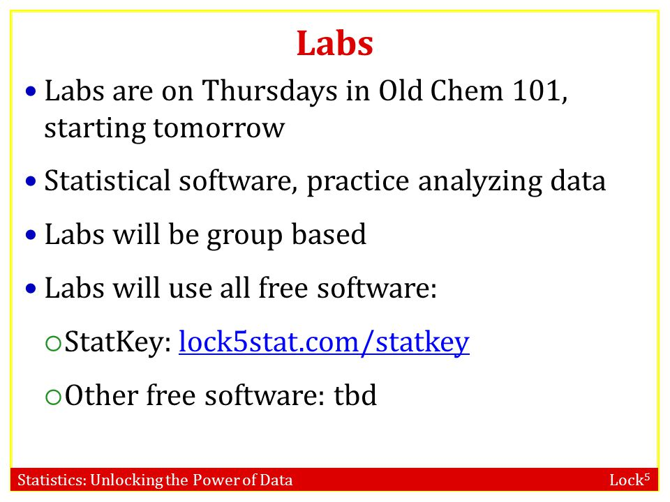 Labs Labs are on Thursdays in Old Chem 101, starting tomorrow