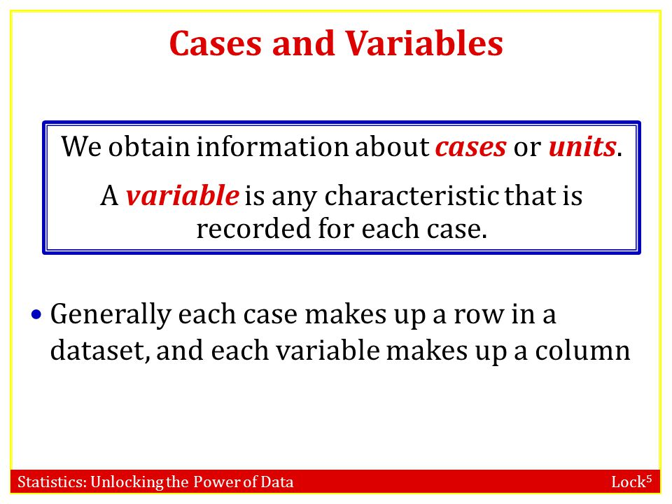 Cases and Variables We obtain information about cases or units. A variable is any characteristic that is recorded for each case.