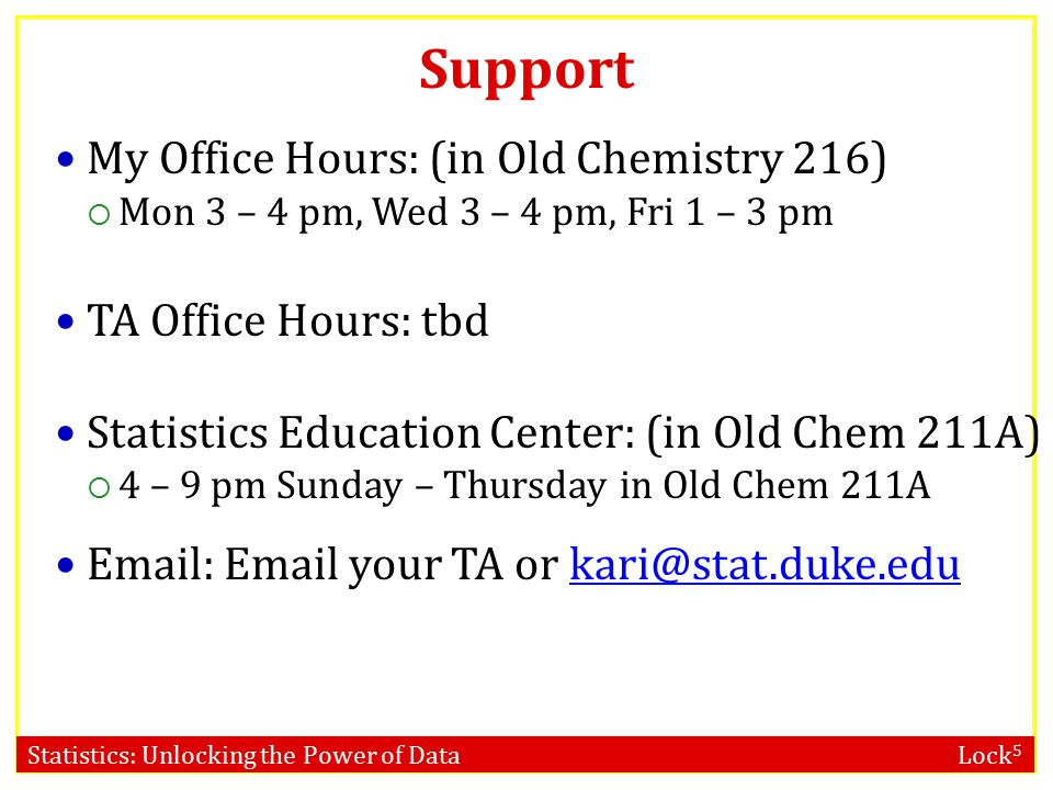 Support My Office Hours: (in Old Chemistry 216) TA Office Hours: tbd