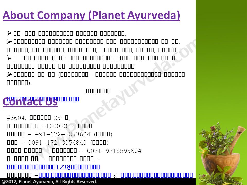 About Company (Planet Ayurveda)