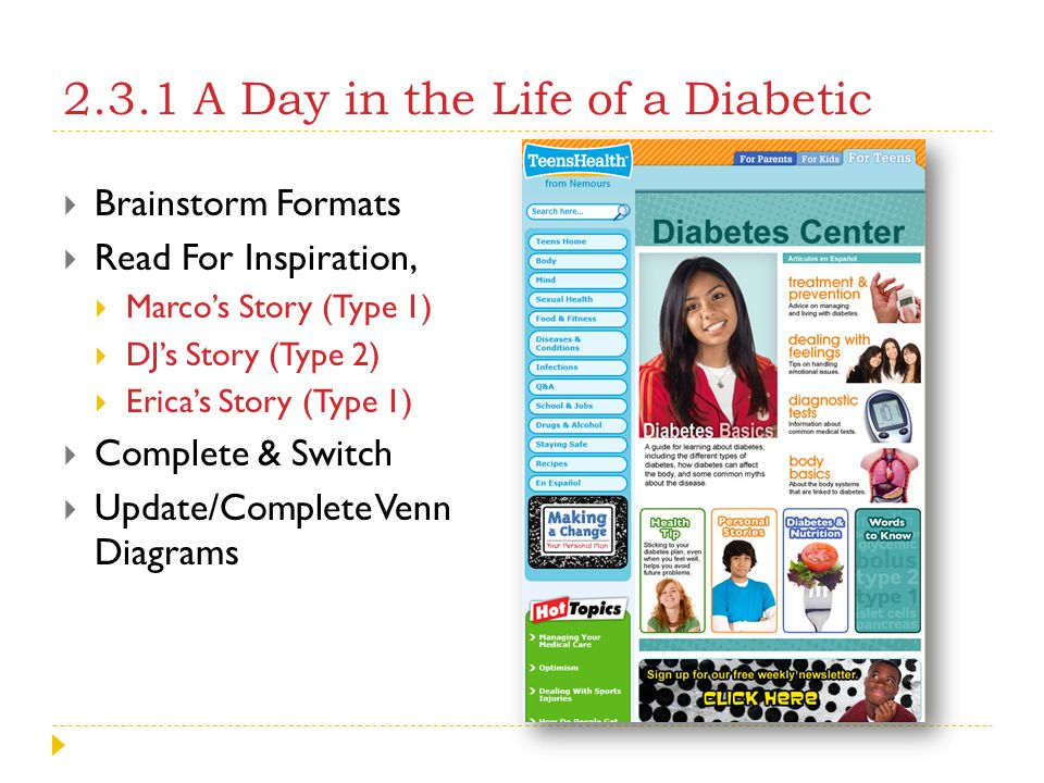 2.3.1 A Day in the Life of a Diabetic