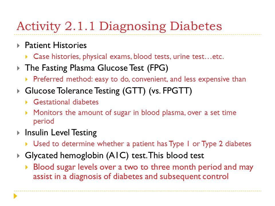 Activity 2.1.1 Diagnosing Diabetes