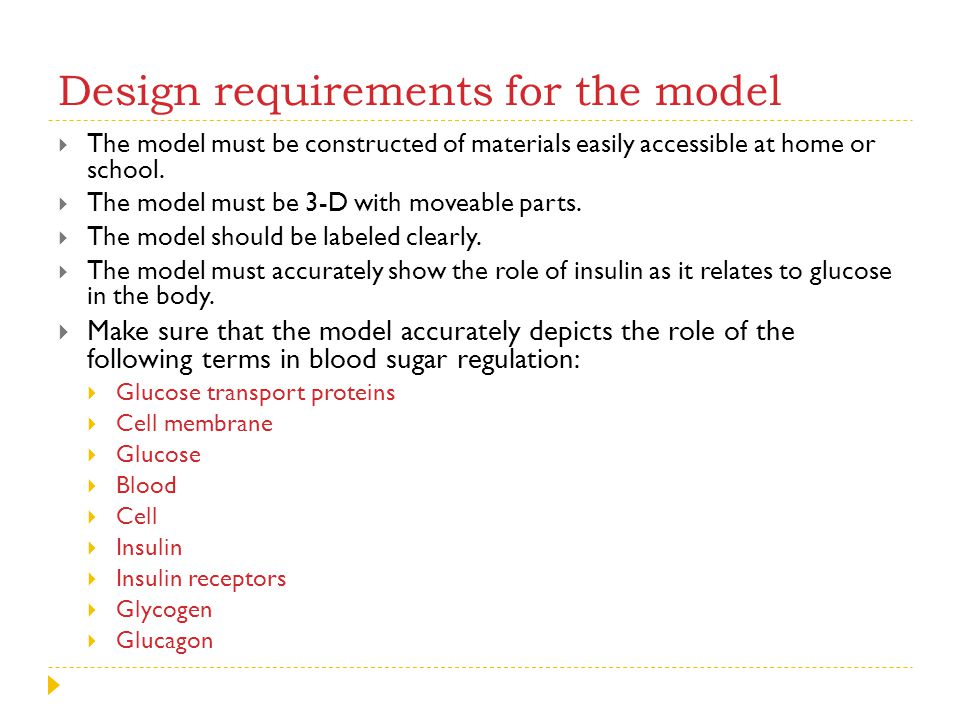 Design requirements for the model