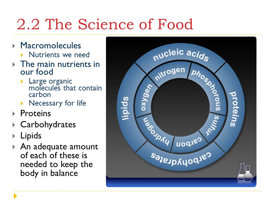 2.2 The Science of Food Macromolecules The main nutrients in our food
